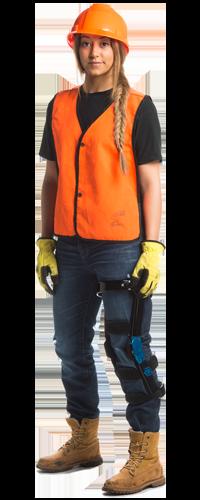 Construction worker in knee brace