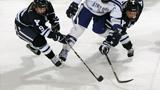 Hockey players using knee braces