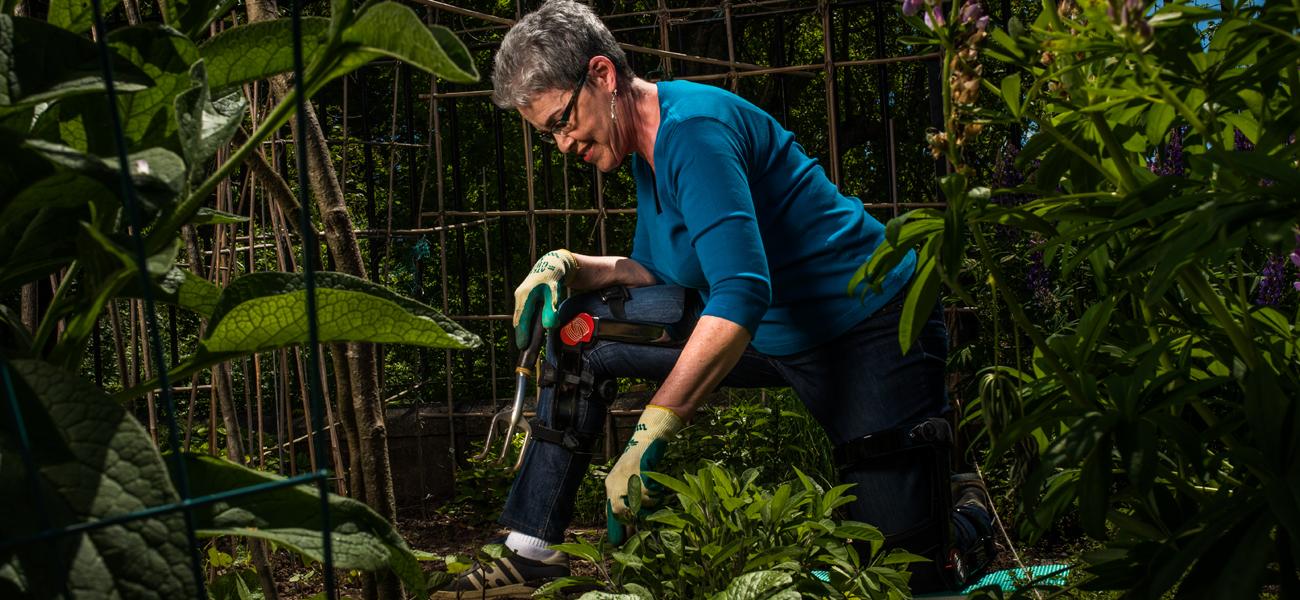 Gardening in knee brace