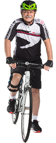 Cycling in knee brace