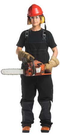 Forestry worker with knee brace