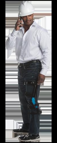 Autoworker in bionic knee brace