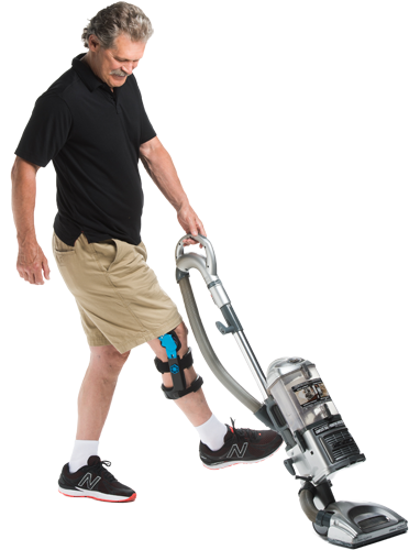 Doing housework in knee brace