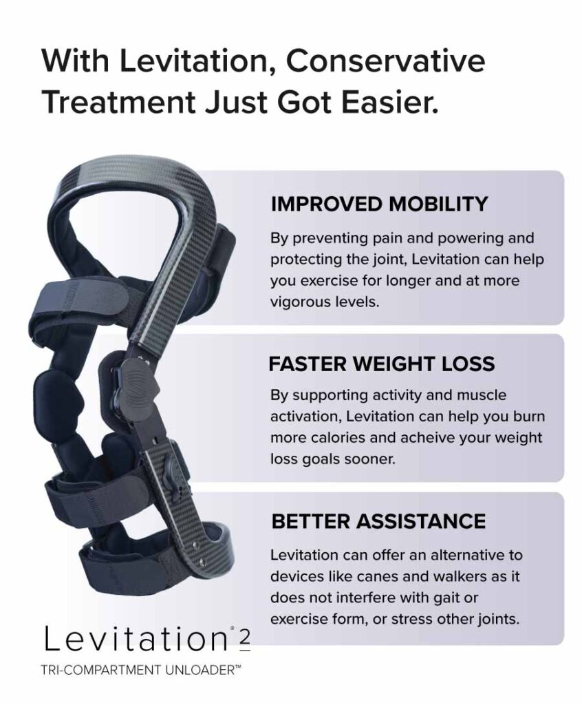 levitation is hinged knee brace that supports conservative treatment