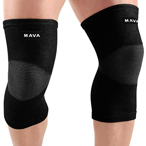 Person wearing knee compression sleeves.